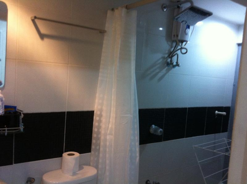 The bathroom with hot and cold shower