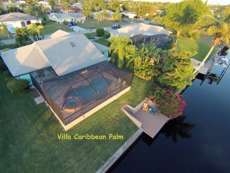 Villa Caribbean Palm Canal aerial