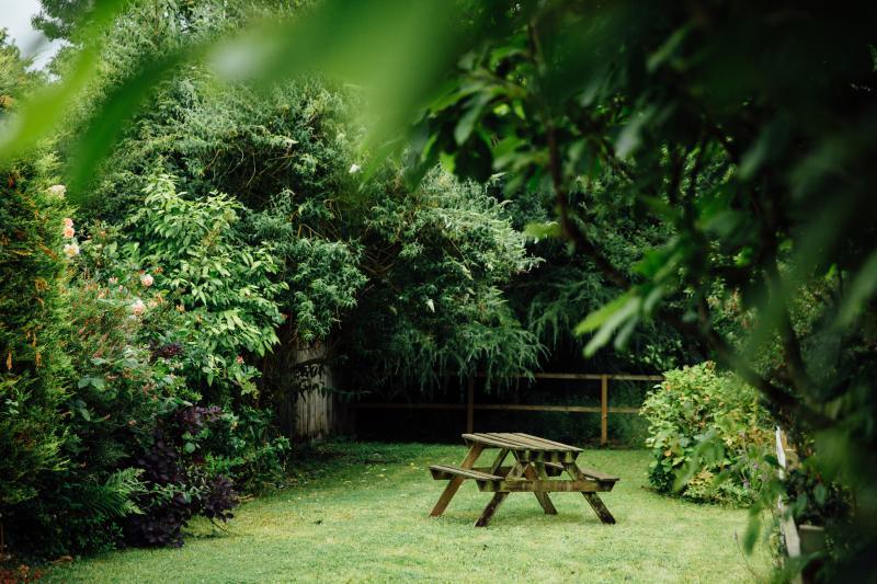 Beau jardin avec banc de pique-nique et barbecue