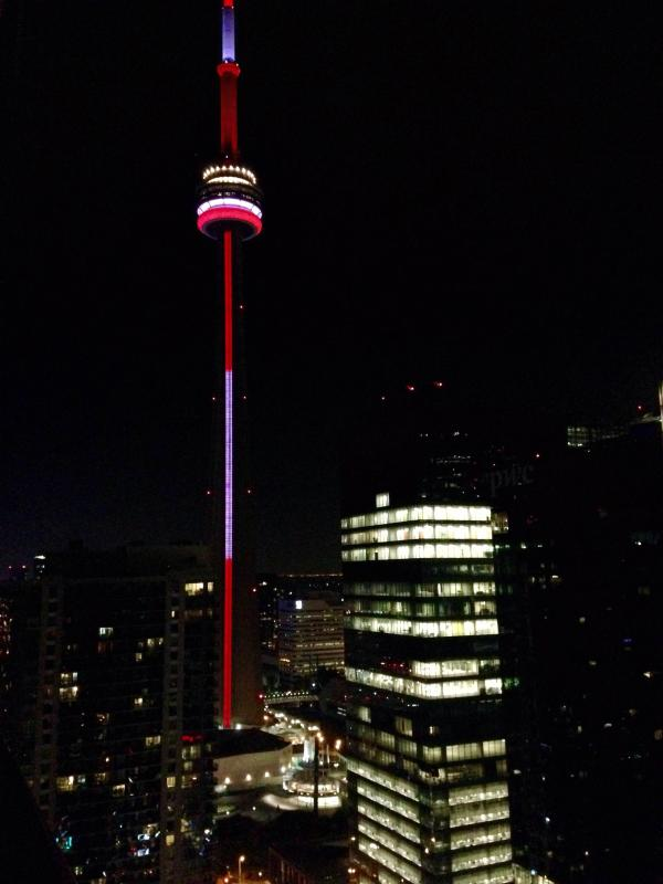 CN Tower from the Balcony at night time