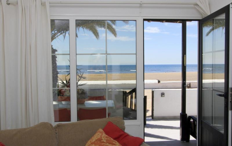 The wonderful view from the sitting room and main bedroom.  Just beach and sea.