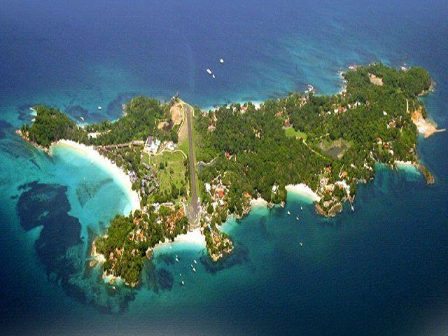 Sky shot of your very exclusive private island retreat.arrive by ferry or plane.