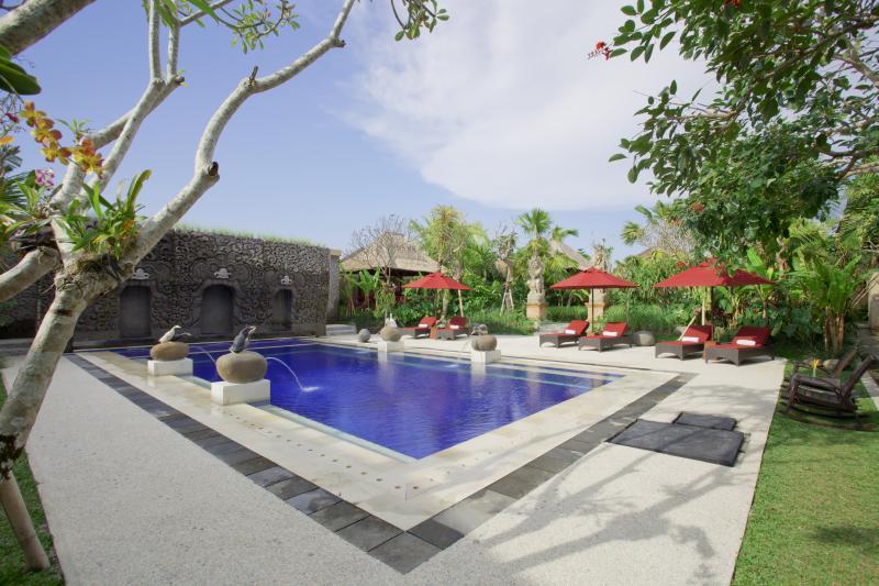 2ème piscine publique avec soulagement de Elephant Cave Temple face au champ de riz paddy et jardin