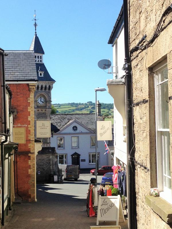 Hay-on-Wye streets with view to historic clocktower