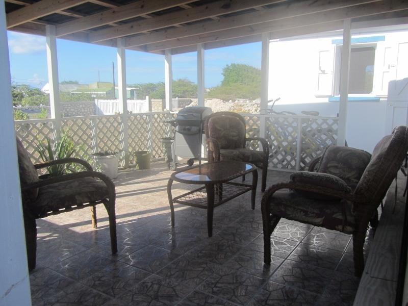 Nuevo patio, cubierto de sombra, con plantas, sofá de dos plazas, 2 sillas, mesa y barbacoa.