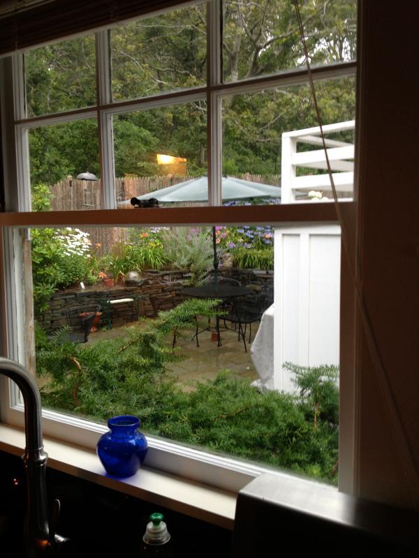 Esta es la vista del fregadero de la cocina. Tomar un libro de atrás y disfrutar.
