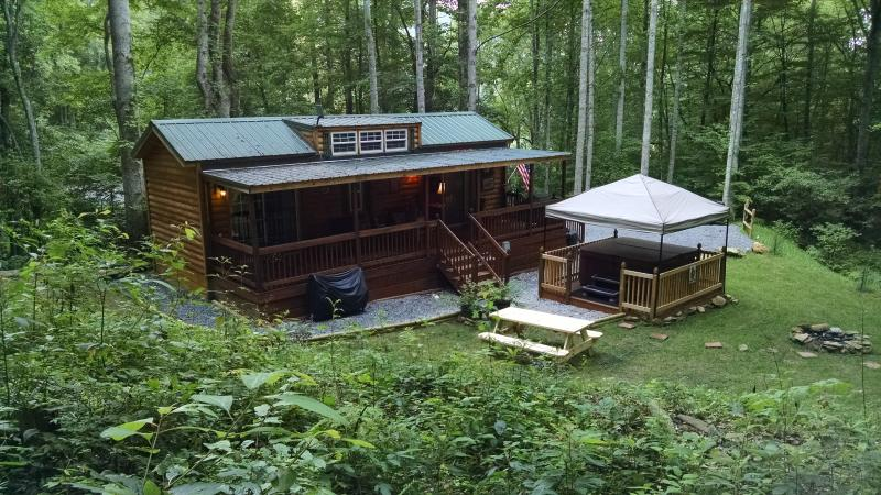 Family Cabin with hot tub, fire pit and picnic table