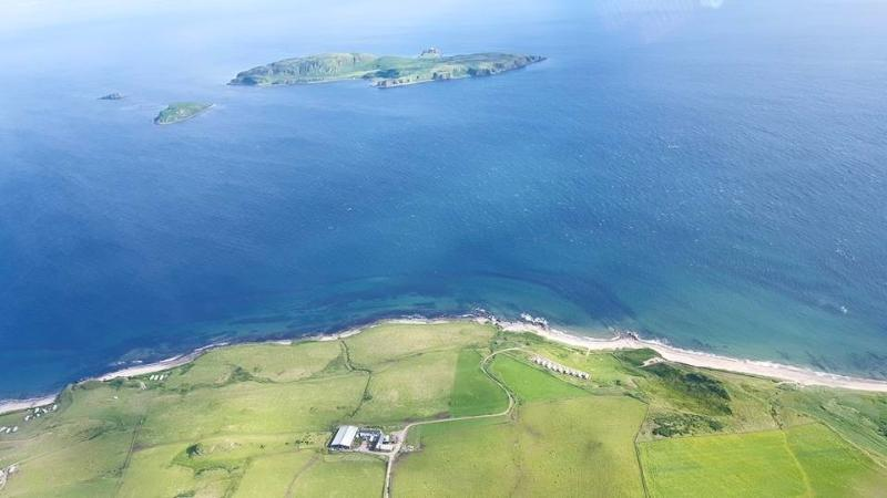 Aerial view of Pennyseorach farm and caravans
