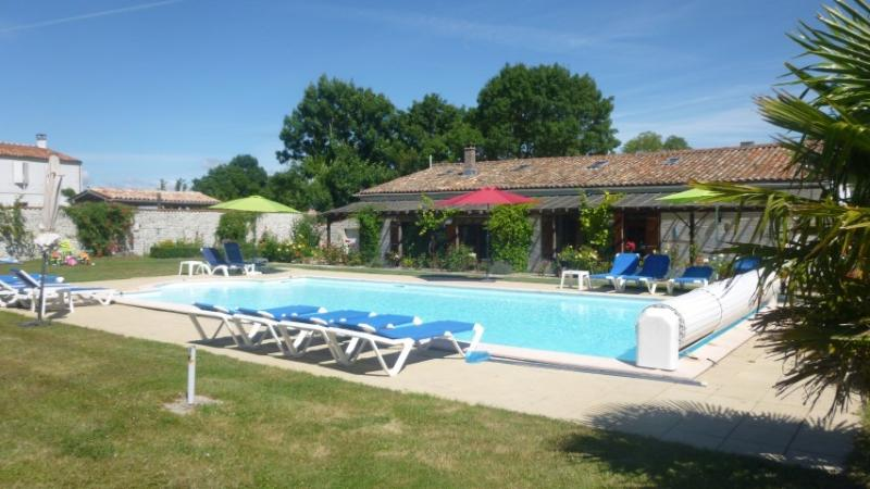 Large heated pool and cottages