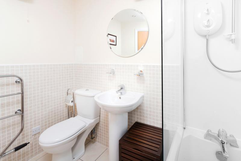 A large family bath/shower room with WC and heated towel rail
