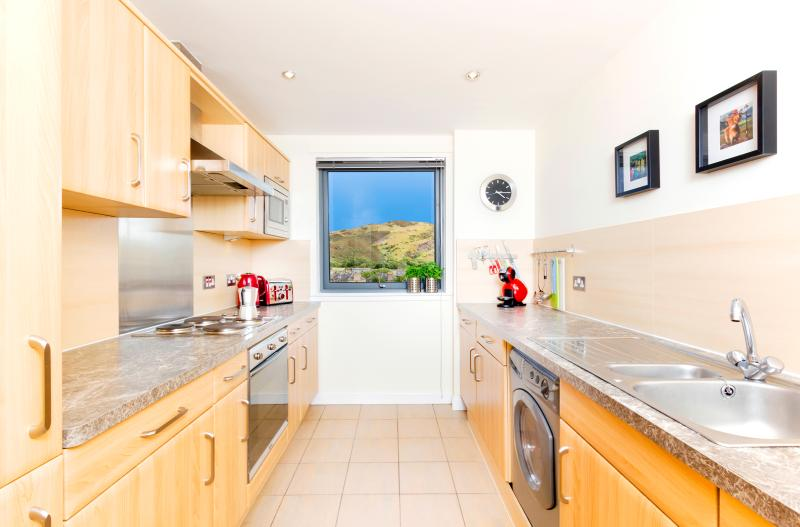 A modern kitchen with integrated oven, fridge/freezer, microwave, dishwasher and washer/dryer