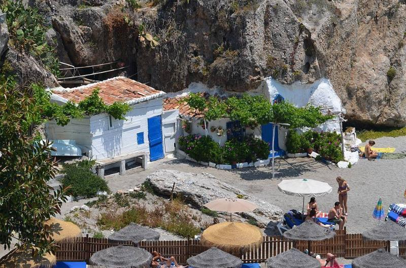 Balcon de Europa looking down on the beach  housing fishermen cottages -  may be not now!