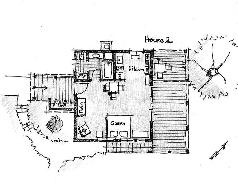 House 2 floor plan showing bed arrangements