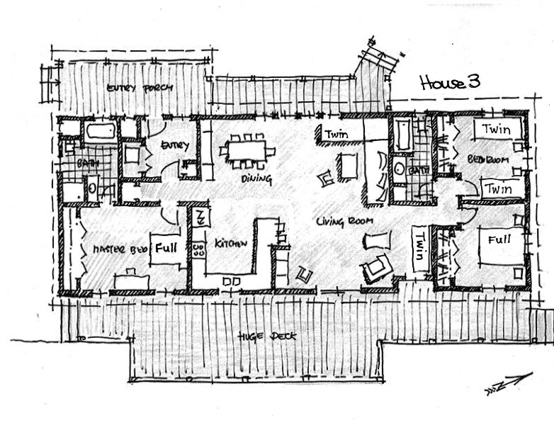 House 3 floor plan showing bed arrangements