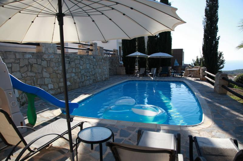 Sunset  Villa  -Relax in quiet-enjoy our private pool and seaview, vacation rental in Stroumbi
