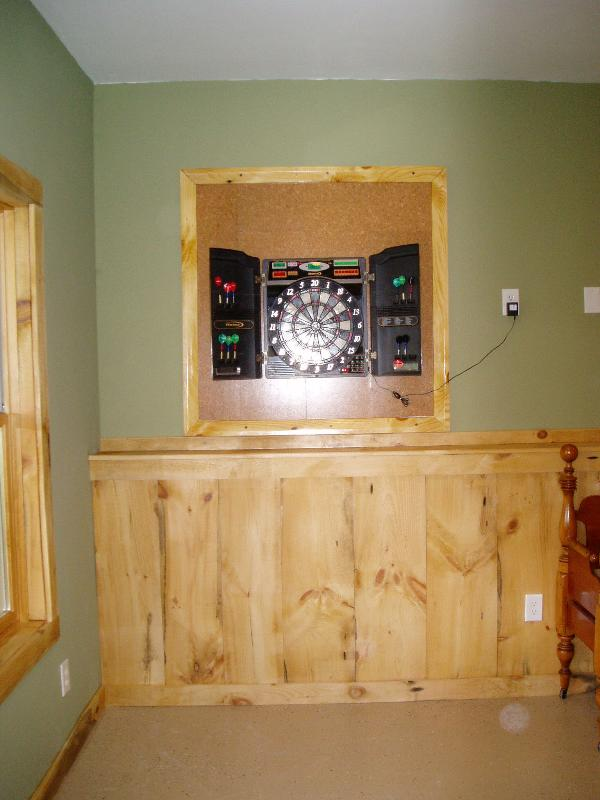 Dart board in the game room.