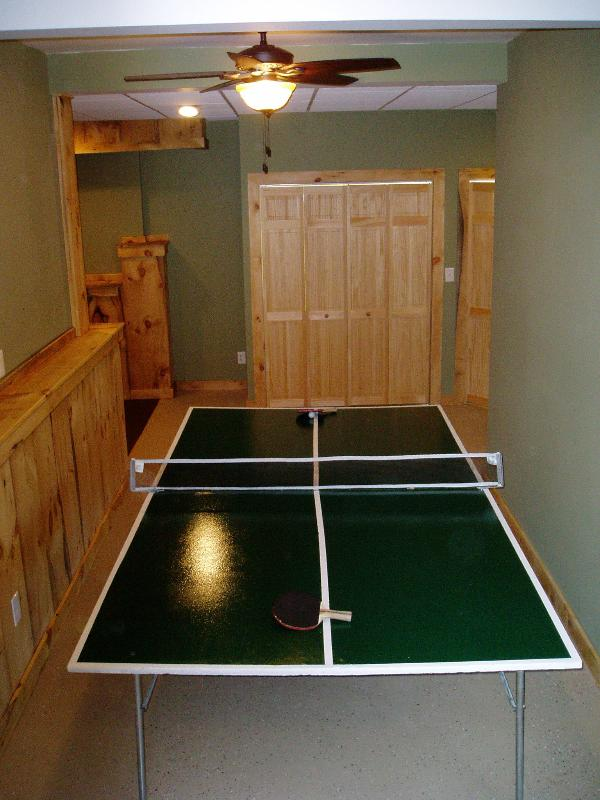 Ping pong table in the game room
