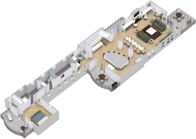 3D Top Level Floor Plan