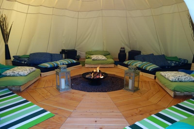 "tipi inside ""GINKO"" 2 double beds, 5 single and 1 extra bed for child = 10 places"