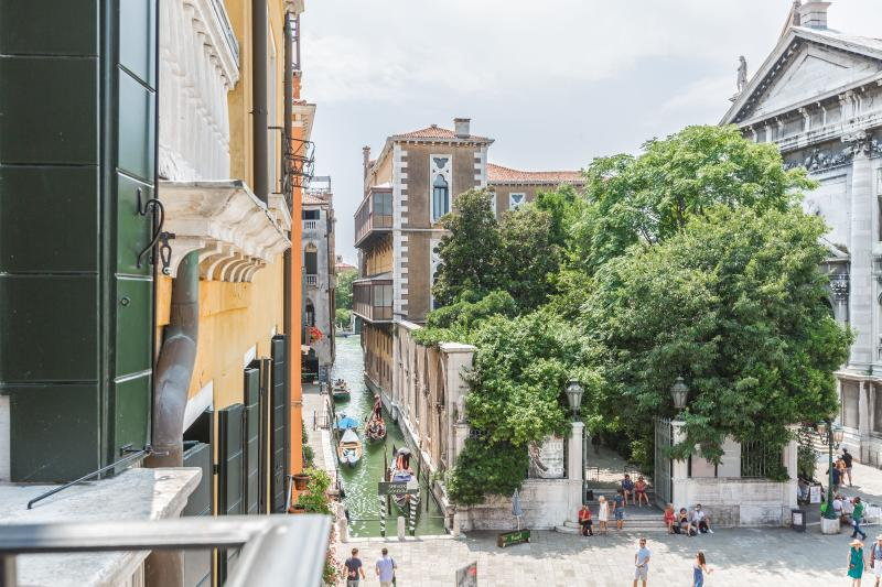 stunning view on Campo Santo Stefano from the banlcony of the Manin apartment