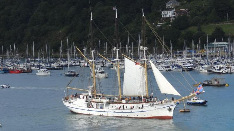 Tall ship departing viewed from the sitting room, July 2015
