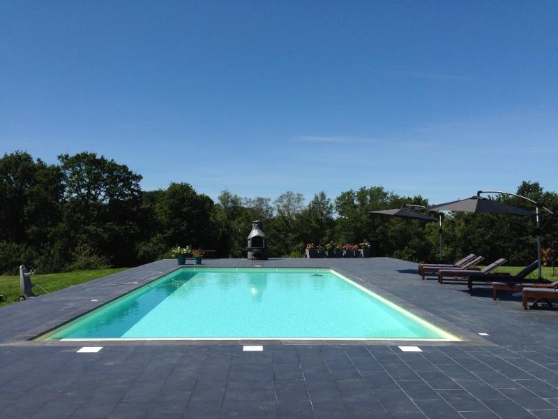 Heated swimming pool, 14 metres by 6 metres, 1.4 metres deep with wide entry steps. Large barbecue.