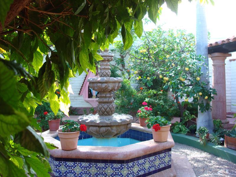 Ein weiterer Innenhof, wo der Brunnen sanft plätschert, und Wind bläst die Palmen