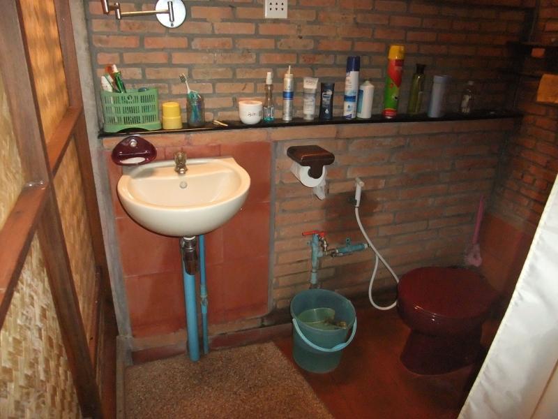Baño externo: mano-lavabo y WC