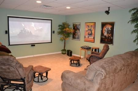Theater and Family Room in Basement