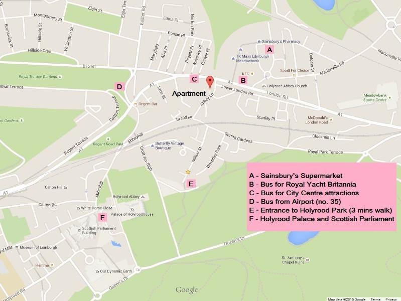 A map of the immediate locale. For scale 'E' is 250 meters from the flat, an approx 3min walk