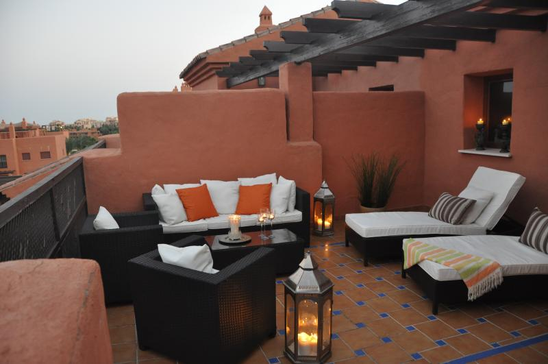 Spacious terrace with lounge furniture and wonderful views
