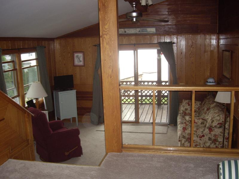 Upstairs TV room with full size sleeper sofa