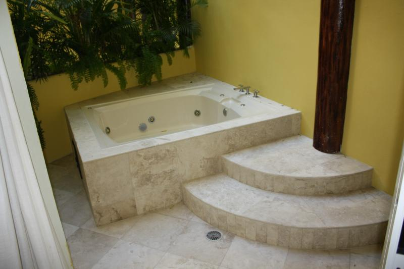 has private jacuzzi outside of master bedroom sliding doors.