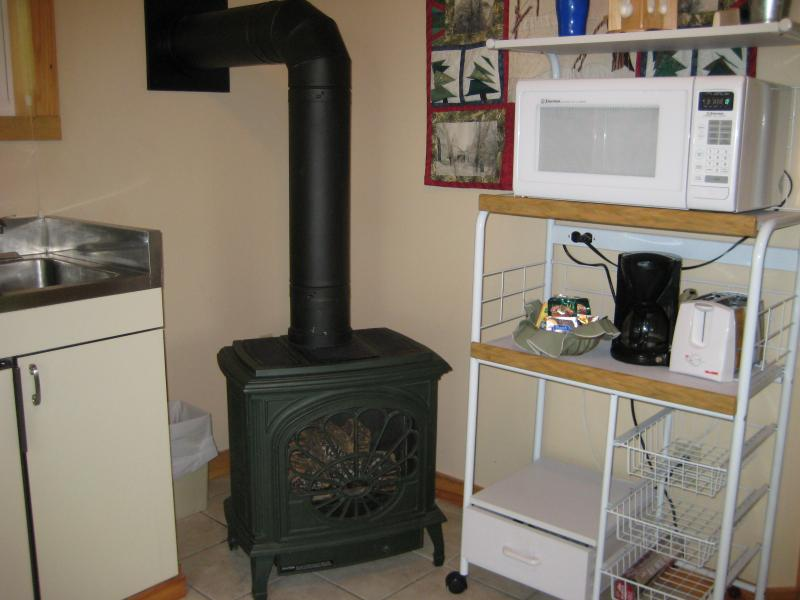 Gas Stove, on a thermostat to keep you toasty year round!