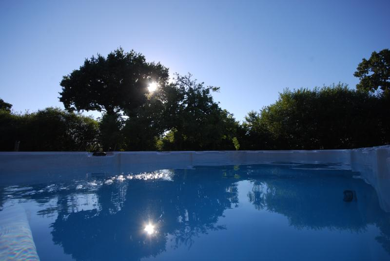 Heated swimming pool with a seperate spa at the end