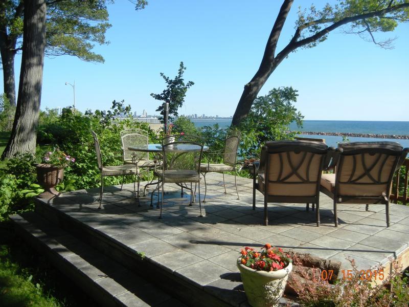 Deck overlooking Lake Michigan and Milwaukee skyline