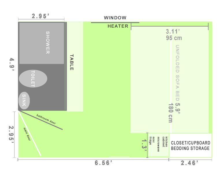 Floor Plan and Sofa-bed measurements