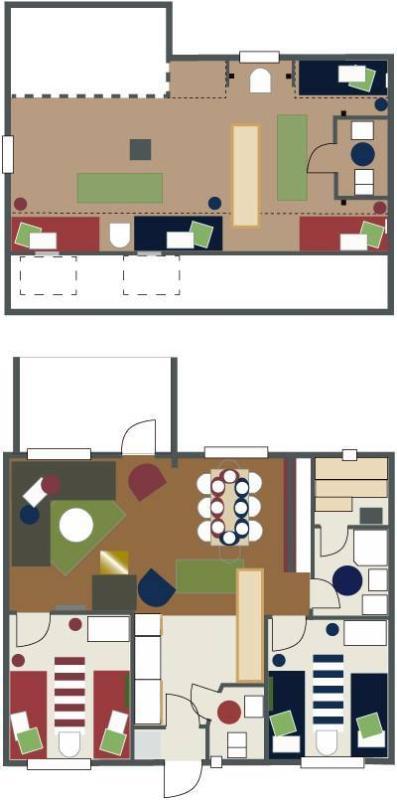 esquisse de plan en bas et mezzanine TOTALEMENT 8 lits