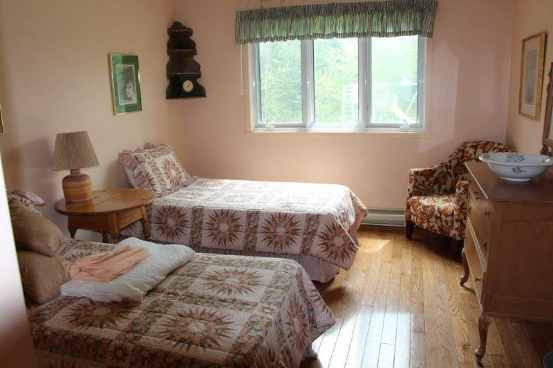 Comfortable twin beds in a large room for the grandparents on the main floor.