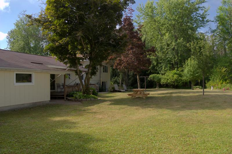 View of the rear yard looking north
