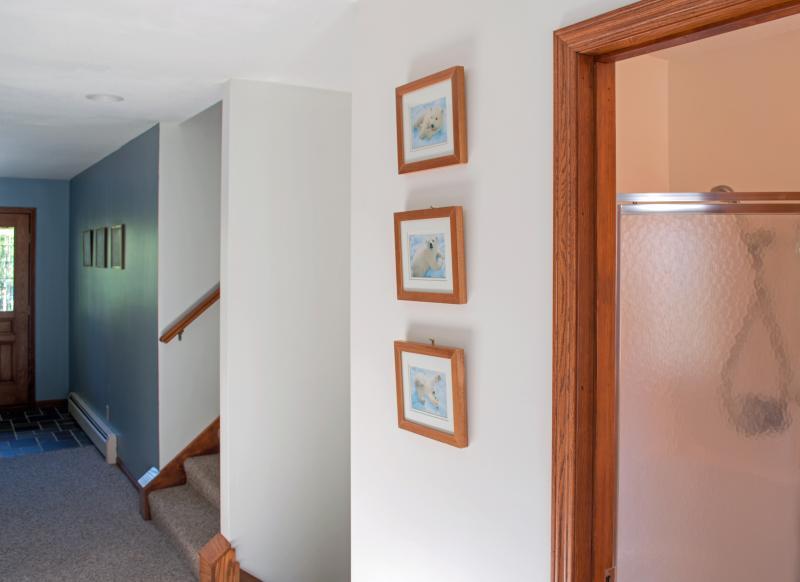 Vista dalla zona lavanderia verso un ingresso Mostra l'ubicazione del piccolo bagno con doccia e scale