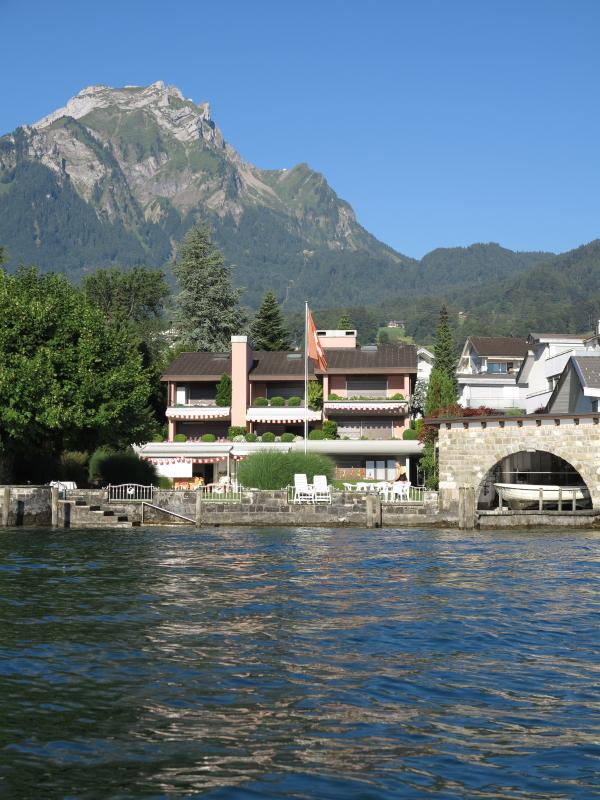 View of the apartment from the lake with Pilatus. Right on the lake.