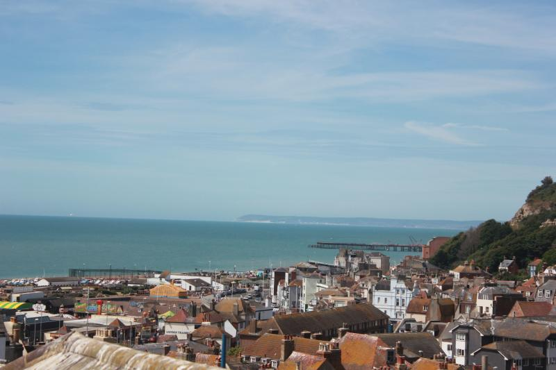 View west to the pier and Beachy Head from the attic twin bedroom