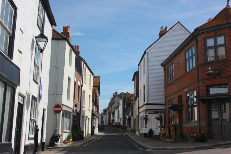 View up All Saints Street, quaint Old Town street with The Crown, our nearest pub on the corner