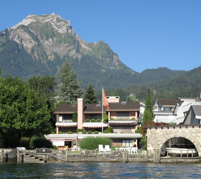 View of the apartment from the lake with Pilatus