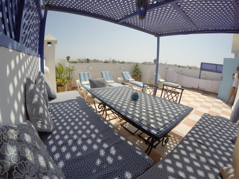 The terrace is sundrenched all day with shaded pergola