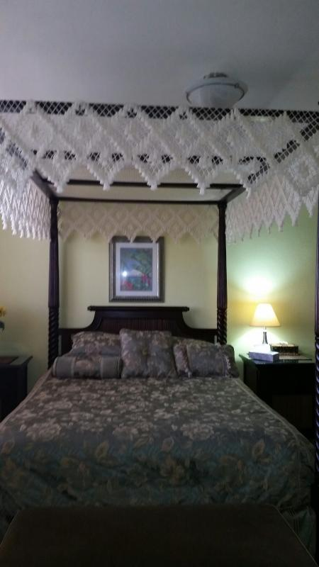 An updated picture of the romantic, canopy, queen size bed.