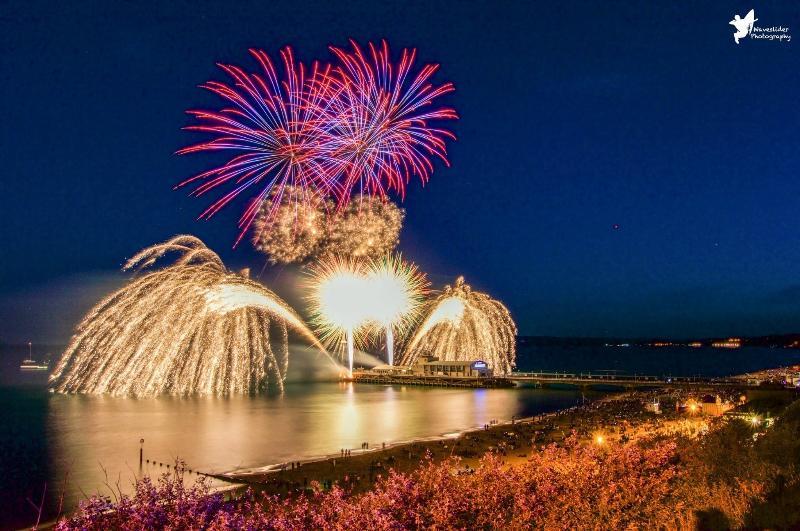 Bournemouth pier fireworks in summer holidays