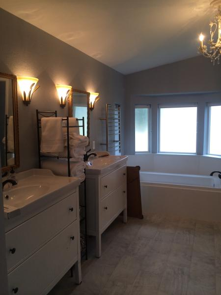 double vanities in the bath, with large separate soaker tub