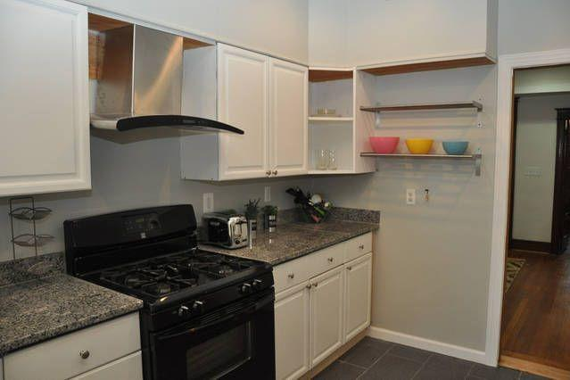 Full  kitchen. Refrigerator, oven, range, microwave